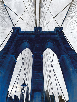 Brooklyn Bridge Blue Canvas Art