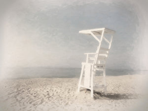 Lifeguard Chair Hazy Morning Canvas Art