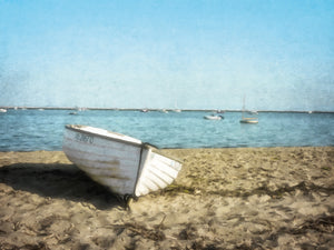 Row Boat in Aqua Canvas Art