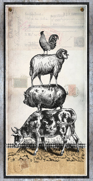Farm Animals Stacked Canvas Art