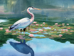 Lakeside Heron 1 Canvas Art