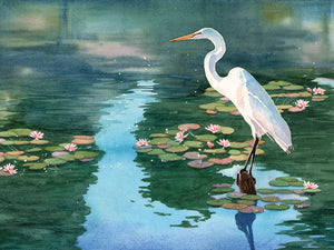 Lakeside Heron 2 Canvas Art
