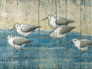 Sandpipers on Wood by Paul Brent - larger sizes handcrafted wall art work on large canvas & framed canvas prints