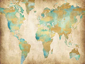 Golden World Map Canvas Art