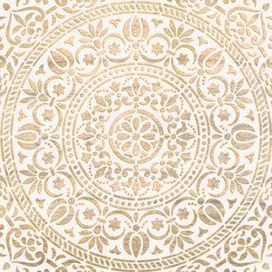 Ornamental White Gold Canvas Art