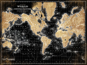 World Map on Black Canvas Art