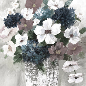Linen Bouquet 1 Light Square REV Canvas Art