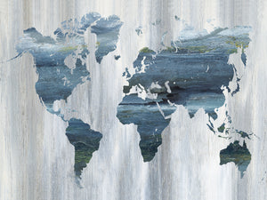 Textural World Map Canvas Art