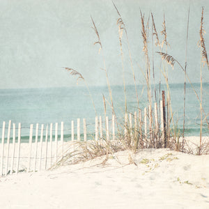 At The Beach Light Square Canvas Art