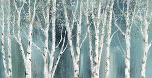 Birch on Blue Soft Canvas Art