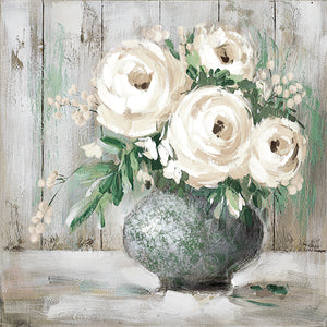 White & Sage Floral I Canvas Art