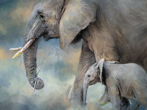 Elephant Family Canvas Art