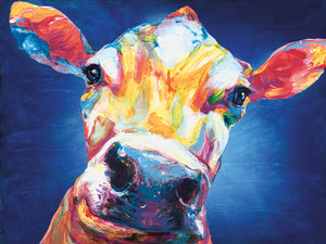 Smiley Cow Blue Canvas Art