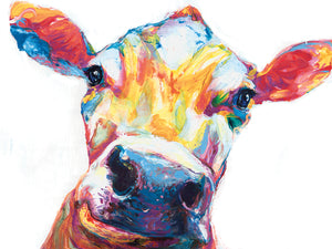Smiley Cow White Canvas Art