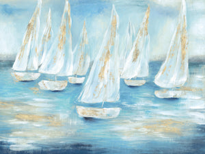 Golden Sailboats Canvas Art