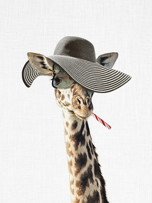 Giraffe Dressed in a Hat Canvas Print