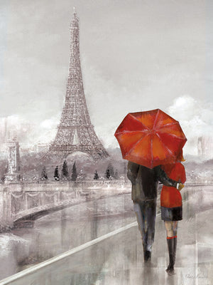 Modern Couple in Paris Canvas Art
