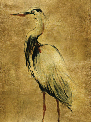 Gold Crane at Dusk II Canvas Art