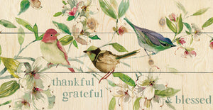 Grateful Thankful Blessed Birds Canvas Art