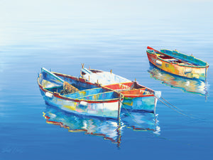 3 Boats Blue 1 Canvas Prints