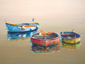 3 Boats Yellow Canvas Prints