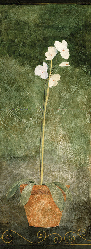 White Flowers in Brown Vase Canvas Art