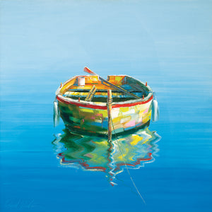 1 Boat Blue Canvas Art