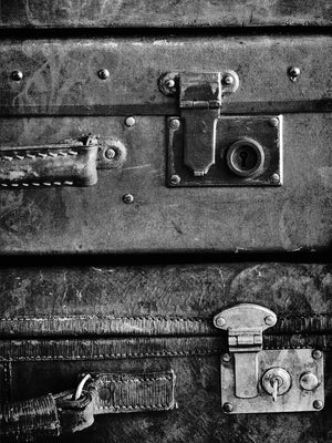 Antique Luggage Suitcases B&W Canvas Art
