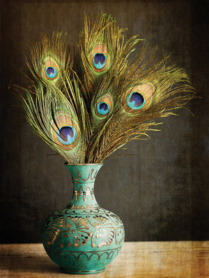 Peacock Feathers in Blue Vase Canvas Art