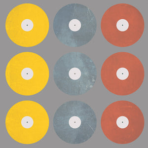 Coloured Records on Grey Canvas Art