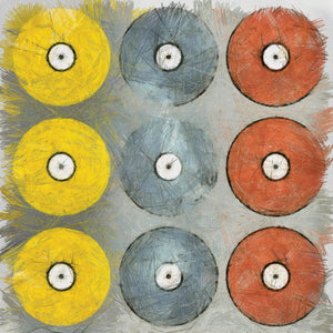 Coloured Records on Grey Texture Canvas Art