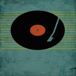 Retro Record Illustration on Blue Canvas Art