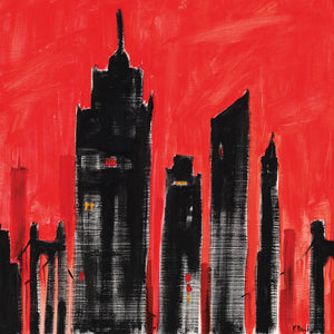 Cityscape Red Canvas Art