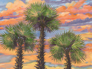 Palm Trio Sunset Canvas Art