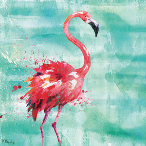 Arianna Flamingo I - Turquoise Canvas Art