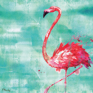Arianna Flamingo II - Turquoise Canvas Art