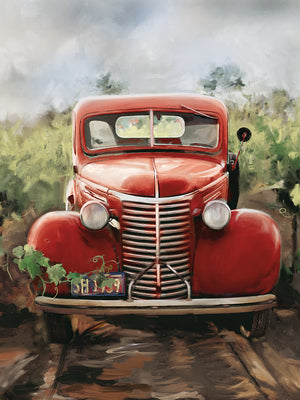 Little Red Truck Canvas Art