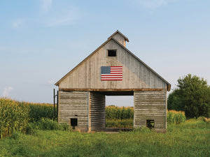 American Flag Barn Canvas Art