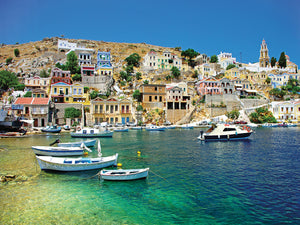 Glorious Greek Harbor Sunshine Canvas Art