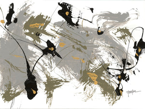 Black & Gold 2 - highest quality handcrafted wall art work on large canvas & framed canvas prints by Dan Houston