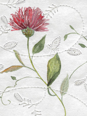 Botanical Embroidery I Canvas Print