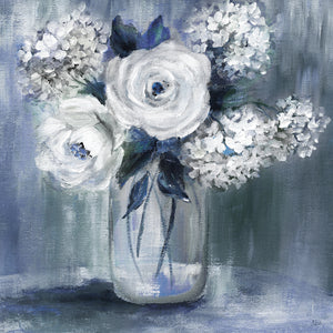 Indigo Bouquet Canvas Art