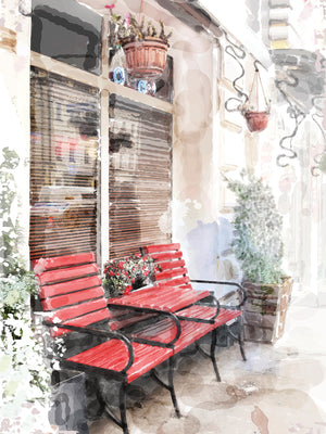Watercolor Café Red Benches Canvas Prints