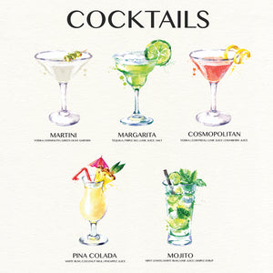 Cocktail Chart Canvas Print