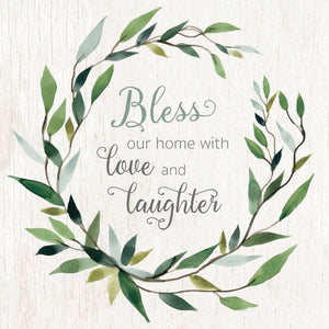 Bless This Home Greenery Canvas Print