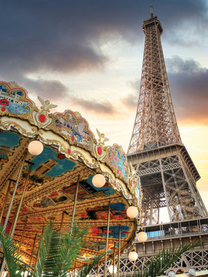Eiffel Tower and Carousel II Canvas Print