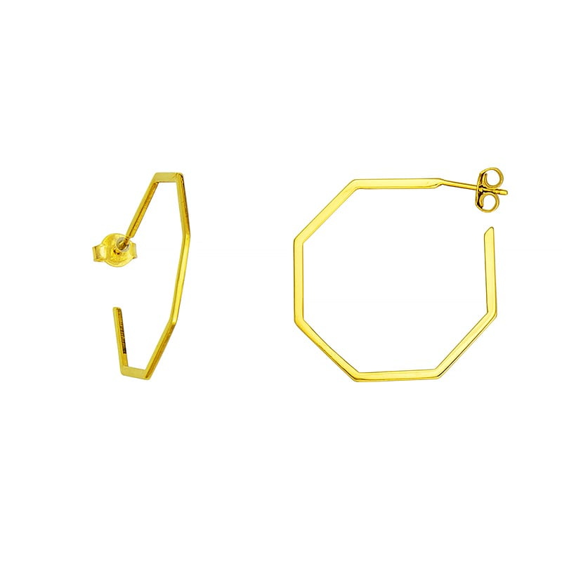 14kt Gold Octagon Hoops