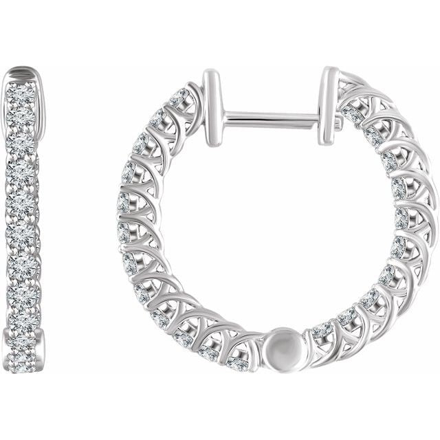 14k Diamond Inside/Outside Hoop Earrings