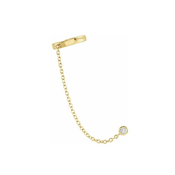 14k Diamond Ear Cuff with Chain