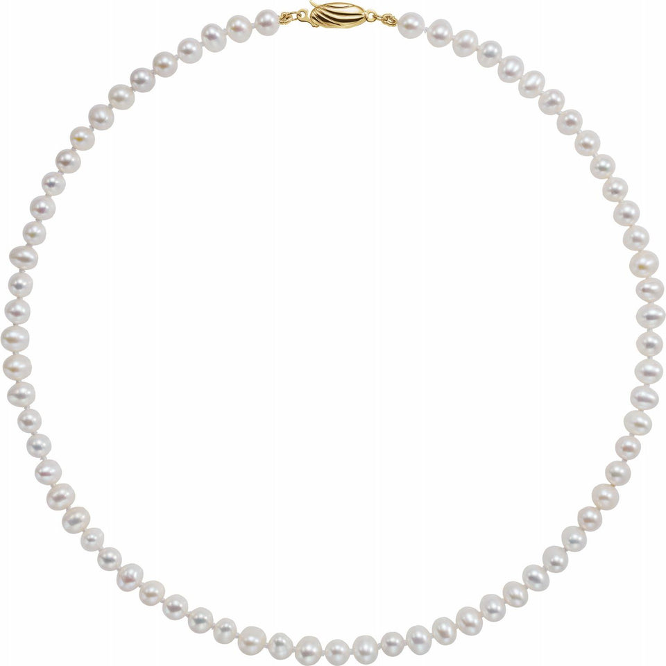 14K Freshwater Cultured Pearl Necklace - YAREMA JEWELRY
